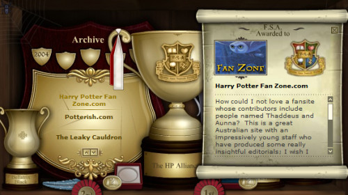 "J.K. Rowling awarded this site a ""Fan Site Award"", read what she had to say about us"