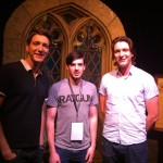 James and Oliver Phelps with Andy McCray of Harry Potter Fan Zone