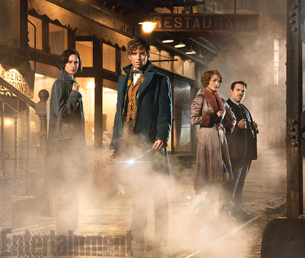 Katherine Waterston (Tina), Eddie Redmayne (Newt), Alison Sudol (Queenie) and Dan Fogler (Jacob)