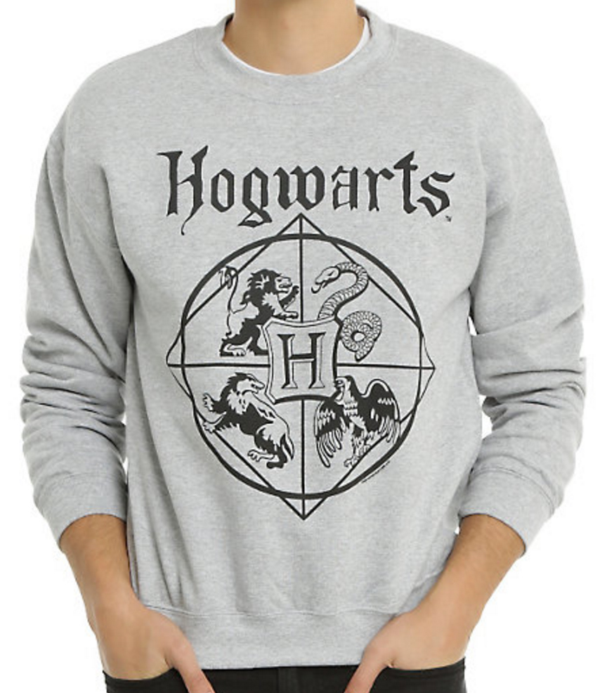 A Hogwarts hoodie from Hot Topic